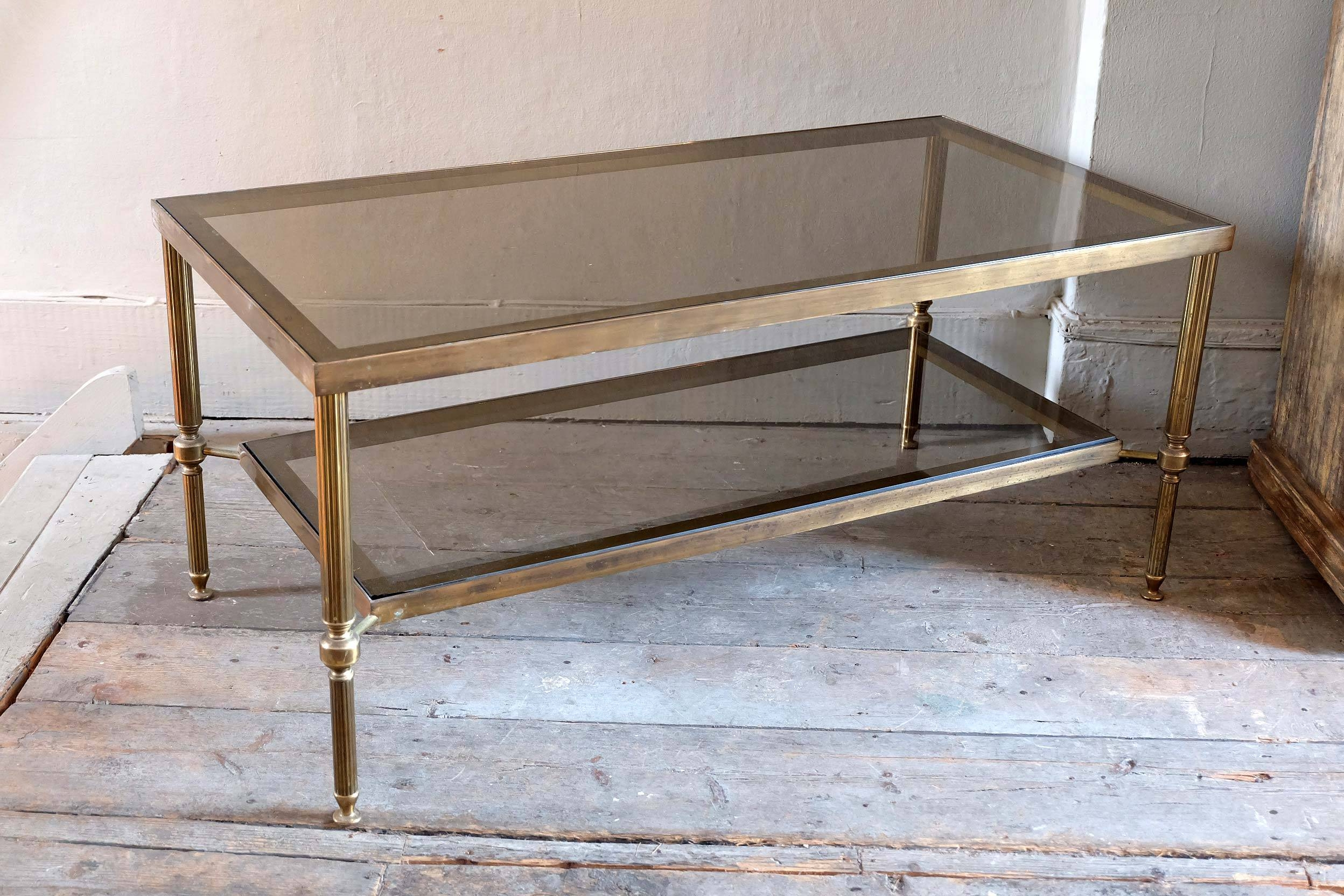 Antique Brass And Glass Coffee Table with regard to Antique Brass Glass Coffee Tables (Image 4 of 37)
