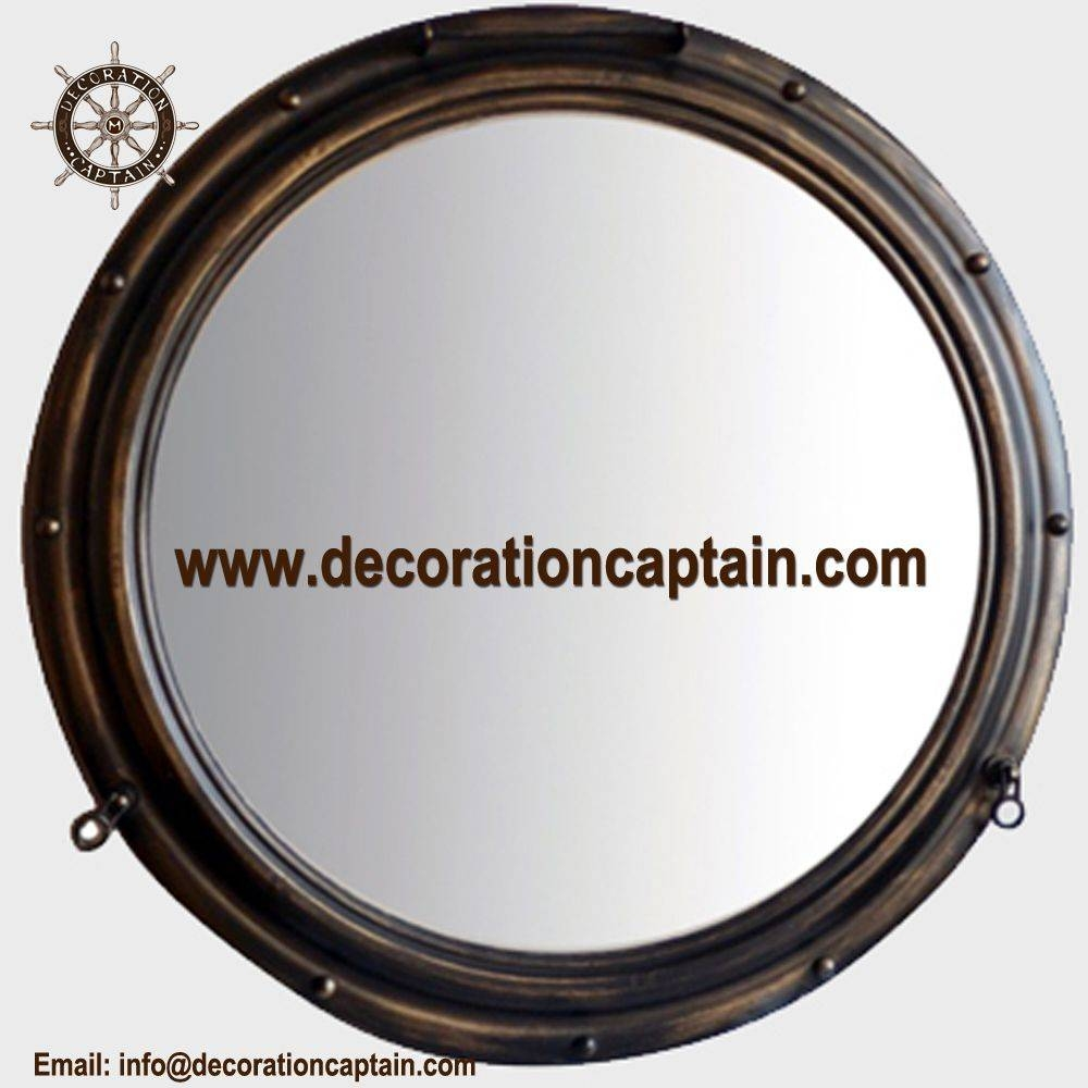 Antique Brass Mariner Port Hole Wall Mirror Porthole Mirrors &amp with regard to Porthole Wall Mirrors (Image 3 of 25)