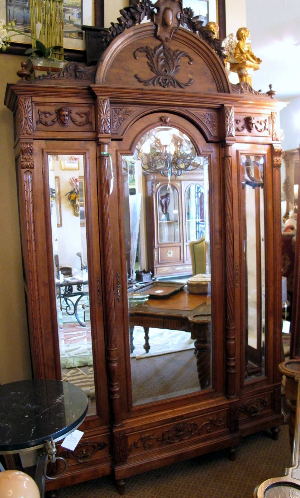 Antique Carved 3 Door Beveled Mirror French Armoire For Sale pertaining to French Wardrobes For Sale (Image 1 of 15)