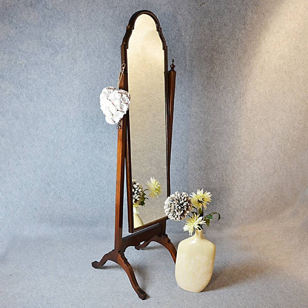 Antique Cheval Mirror Tall Dressing Swing Free Standing English In Antique Free Standing Mirrors (View 3 of 25)