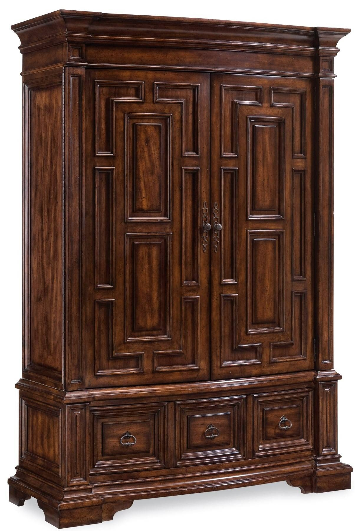 Antique Dark Brown Varnished Teak Wood Wardrobe With Maze Profile with regard to Dark Wood Wardrobe Closet (Image 1 of 30)