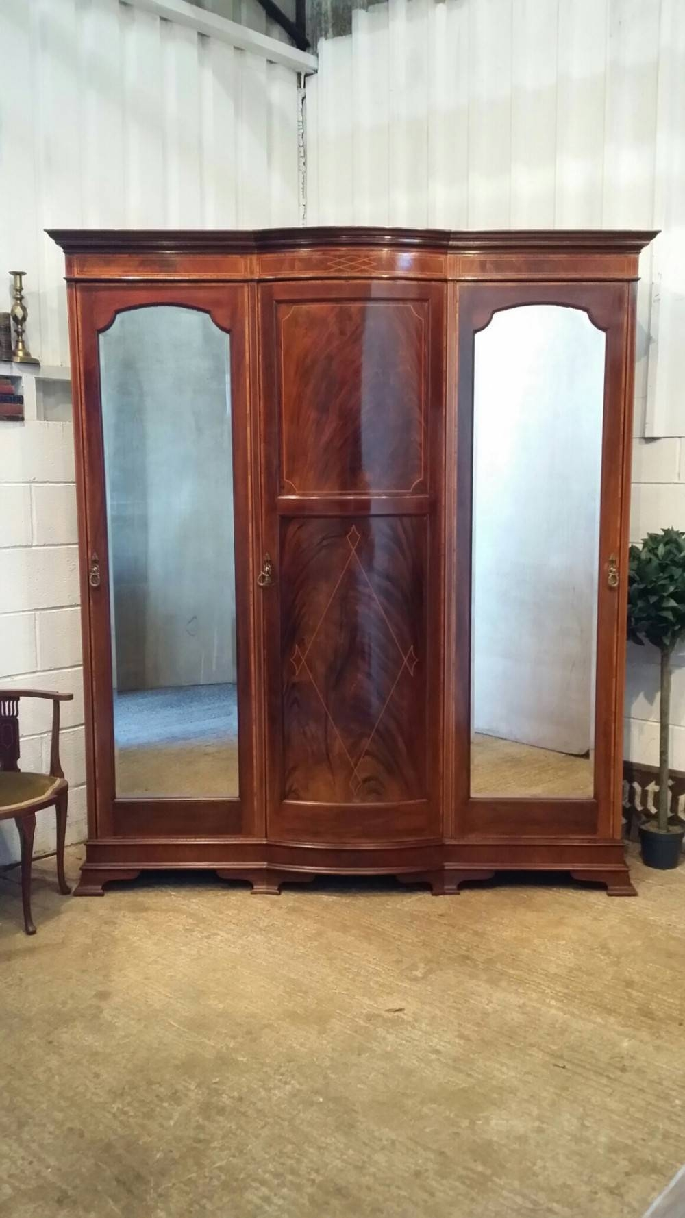 Antique Edwardian Inlaid Mahogany Triple Bow Breakfront Wardrobe for Breakfront Wardrobe (Image 1 of 30)
