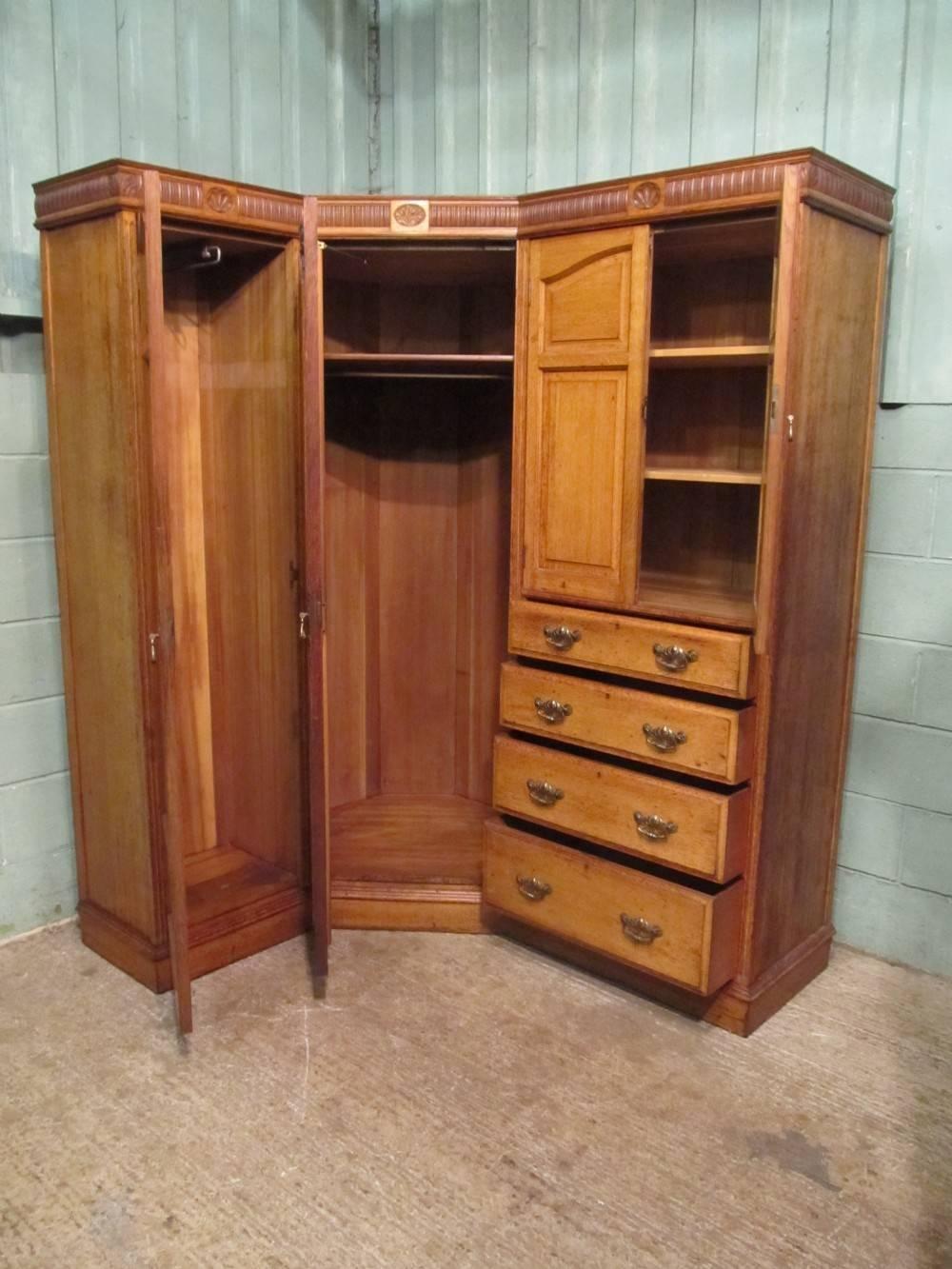 Antique Edwardian Oak Corner Wardrobe Compactum C1900 | 310742 In Oak Corner Wardrobes (View 6 of 15)