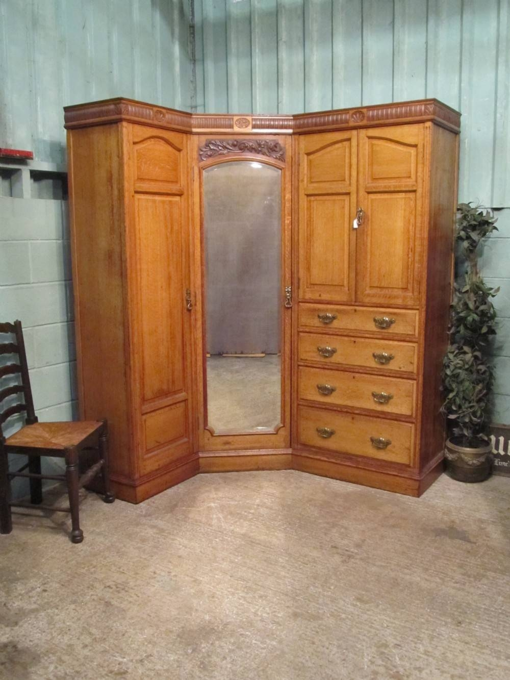 Antique Edwardian Oak Corner Wardrobe Compactum C1900 | 310742 with Oak Corner Wardrobes (Image 3 of 15)