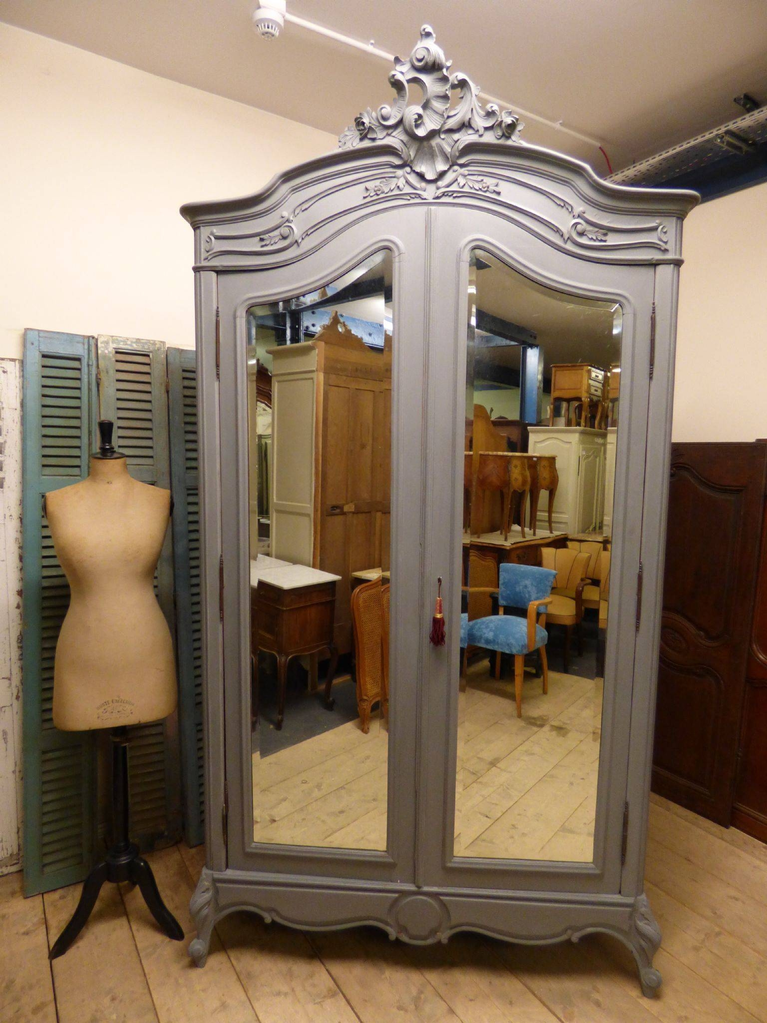Antique French Armoire Bookcase - French Wardrobe - Hc03 - The intended for French Armoires Wardrobes (Image 1 of 15)