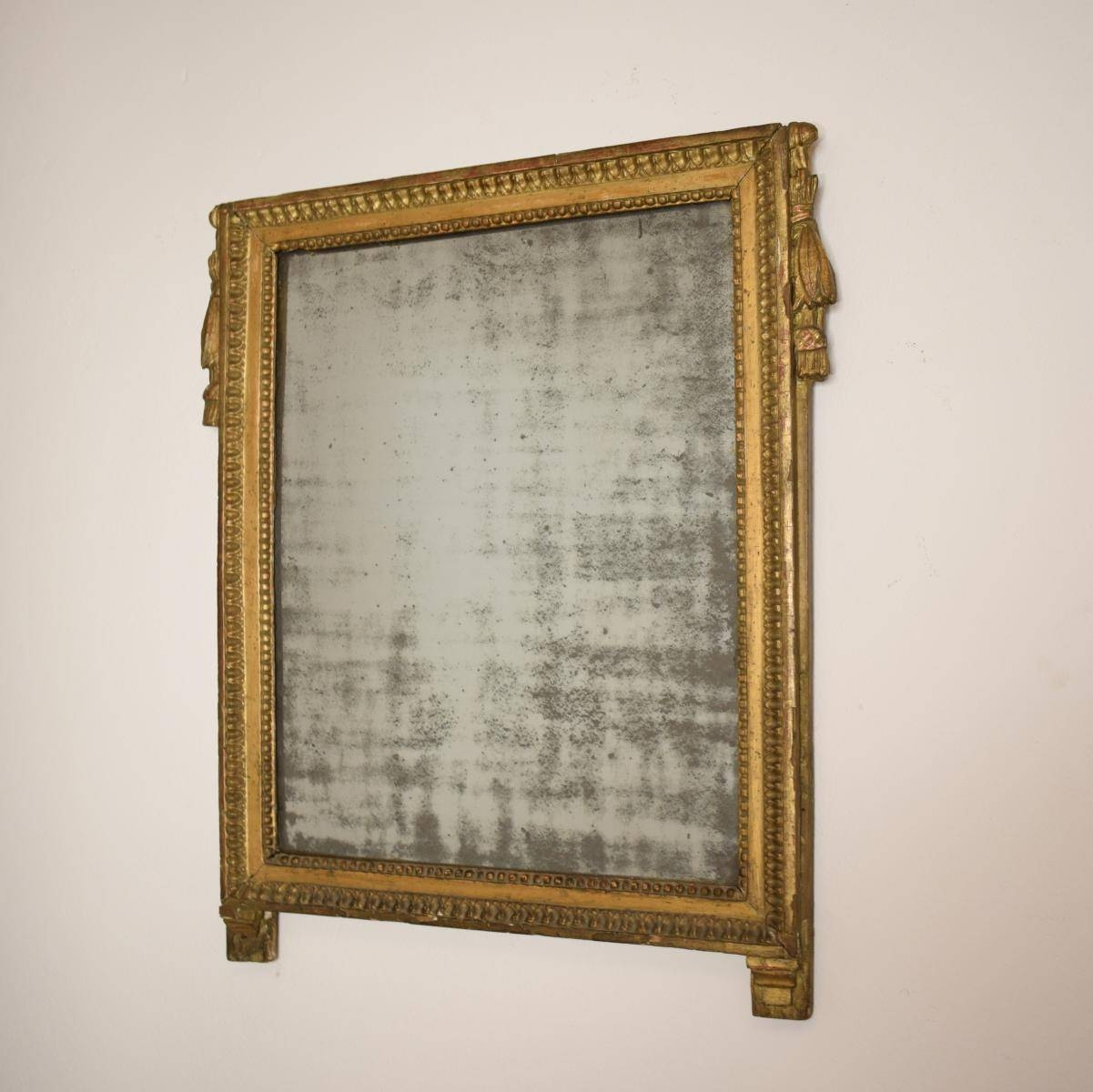 Antique French Empire Gilded Mirror With Original Mirror Glass For inside Antique Gilded Mirrors (Image 6 of 25)