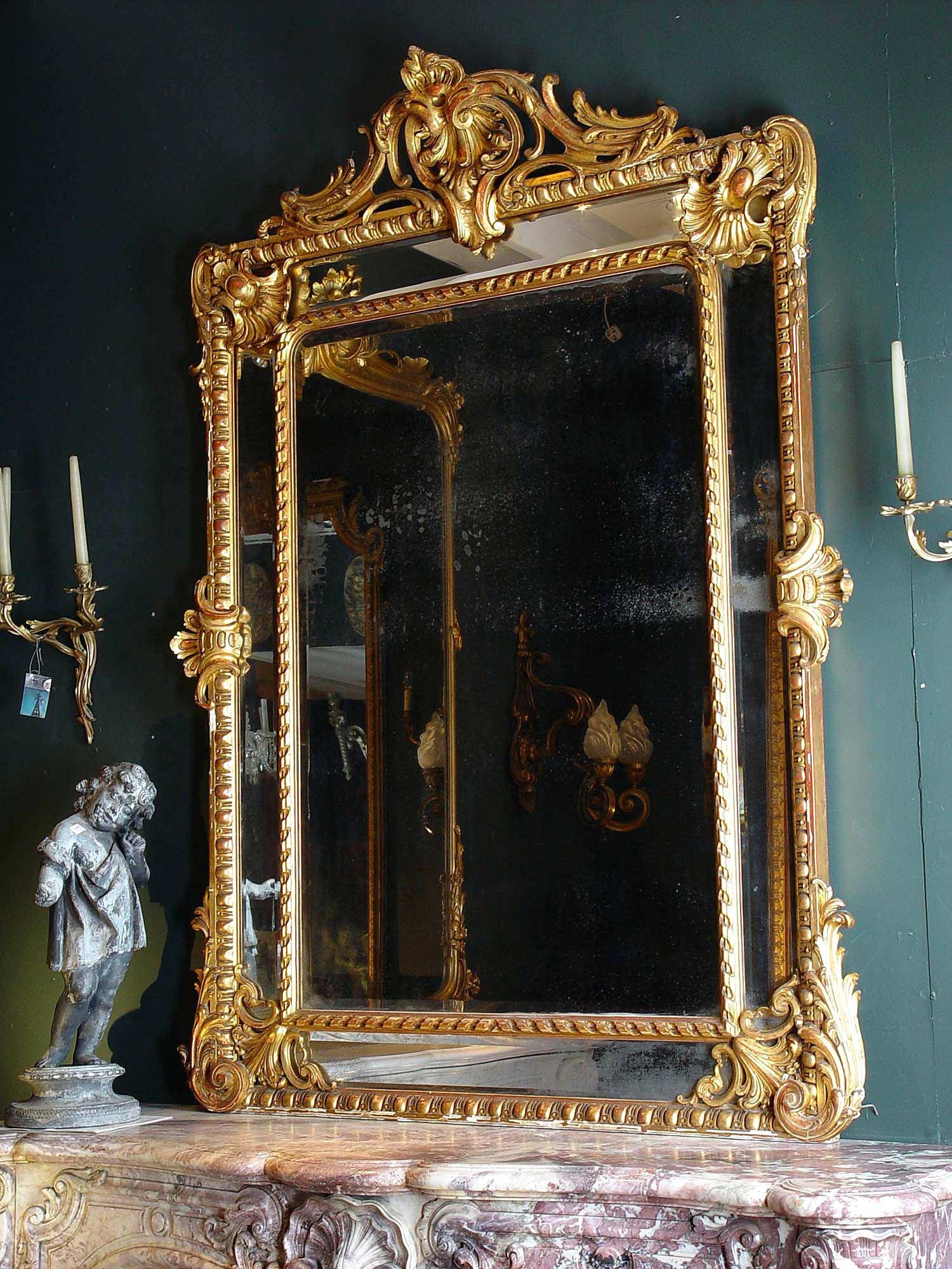 Antique French Floor Mirrorfrench Style Mirror With Shelf Wall Pertaining To Large Mirrors