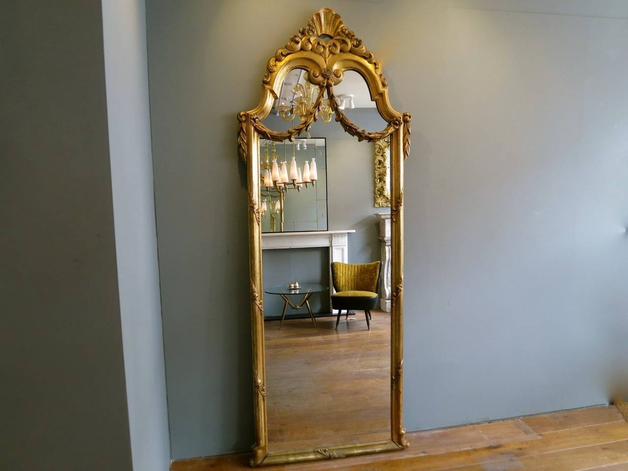 Antique French Gold Gilt Floor Standing Mirror At 1Stdibs for Antique French Floor Mirrors (Image 5 of 25)
