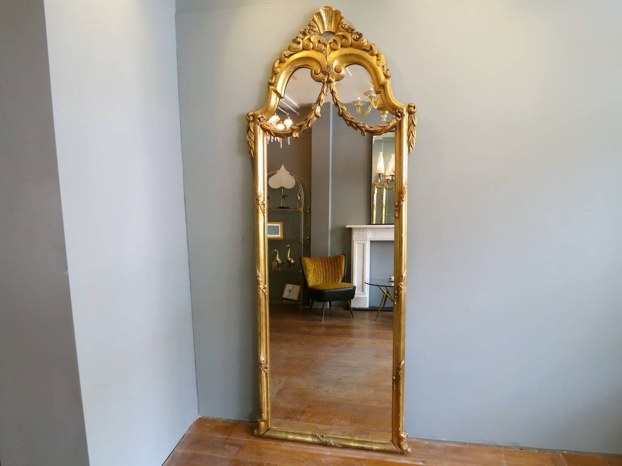 Antique French Gold Gilt Floor Standing Mirror At 1Stdibs in French Gold Mirrors (Image 12 of 25)