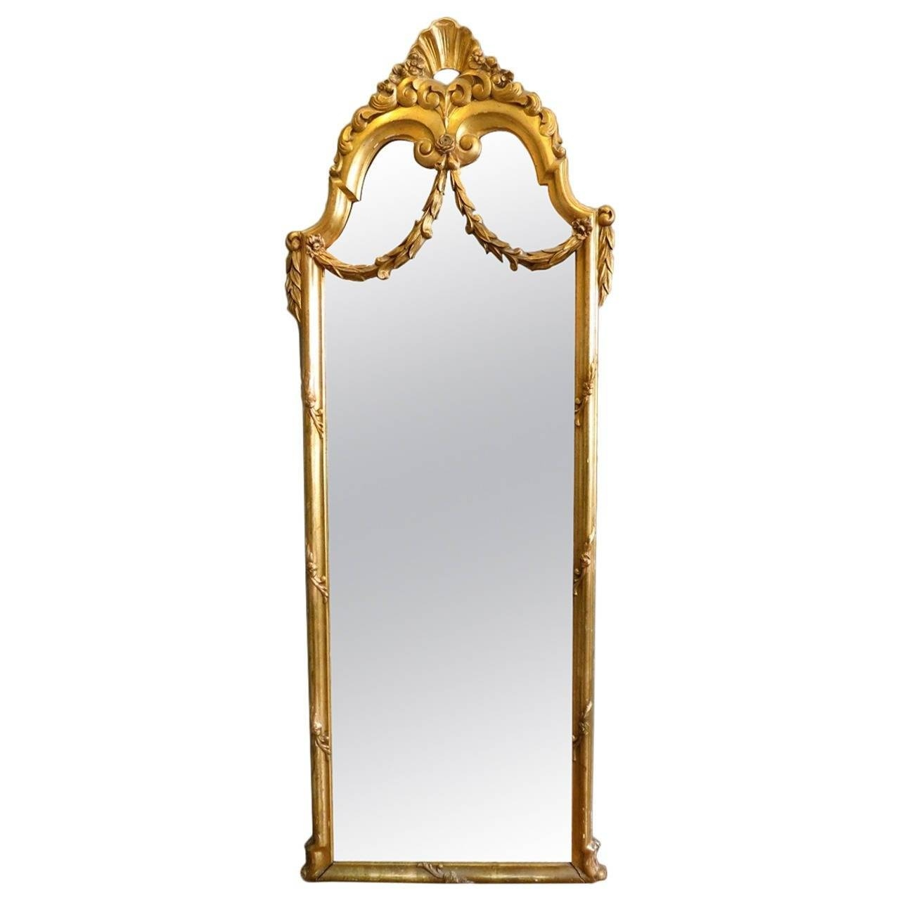 Antique French Gold Gilt Floor Standing Mirror At 1Stdibs within Gold Arch Mirrors (Image 3 of 25)