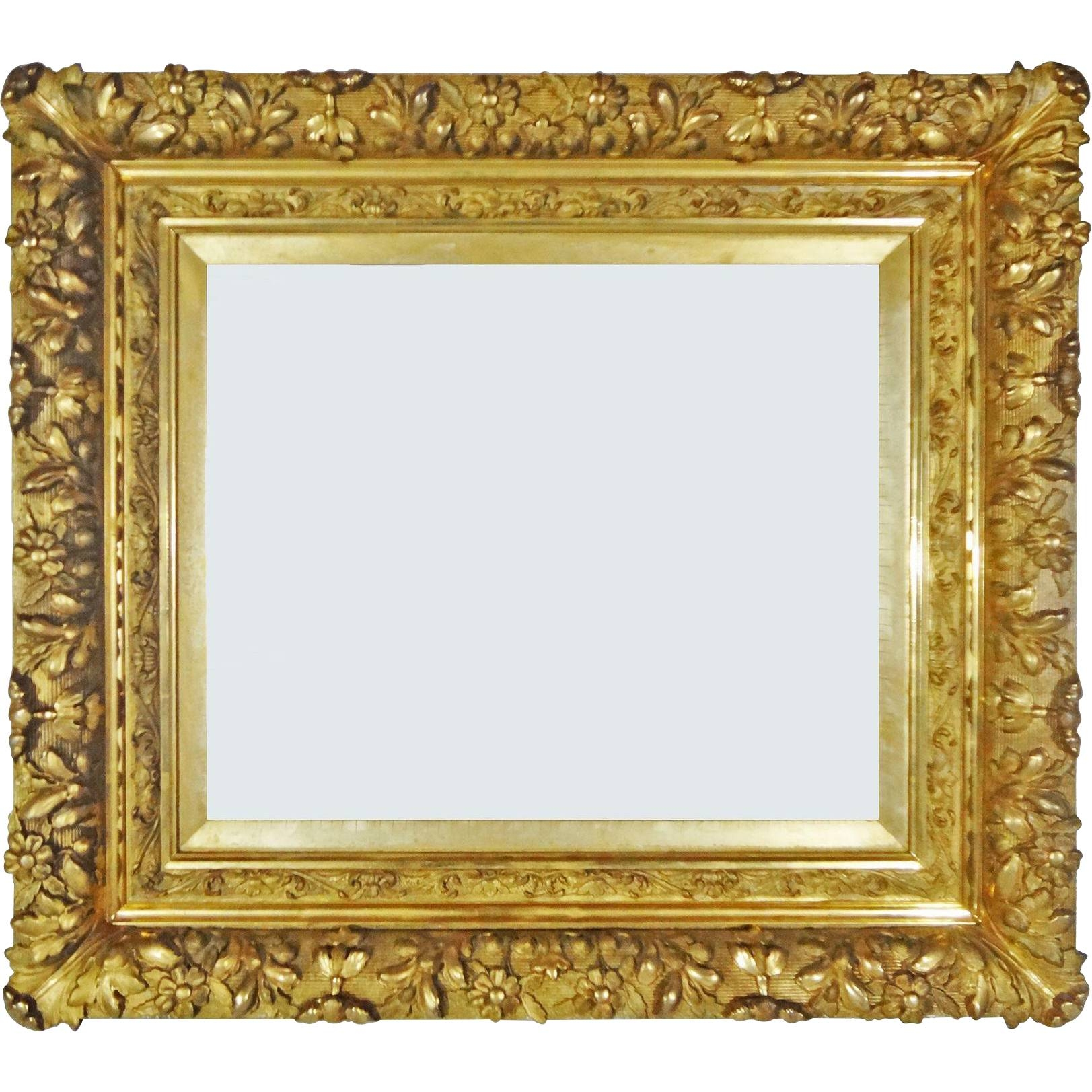 Antique French Louis Xiii Style Barbizon Gilt Wood Gesso Picture intended for Antique Gilt Mirrors (Image 10 of 25)