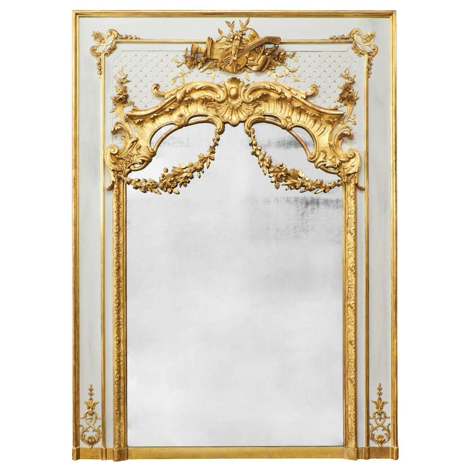 Antique French, Louis Xvi Gold Leaf Trumeau For Sale At 1Stdibs inside Gold Arch Mirrors (Image 4 of 25)