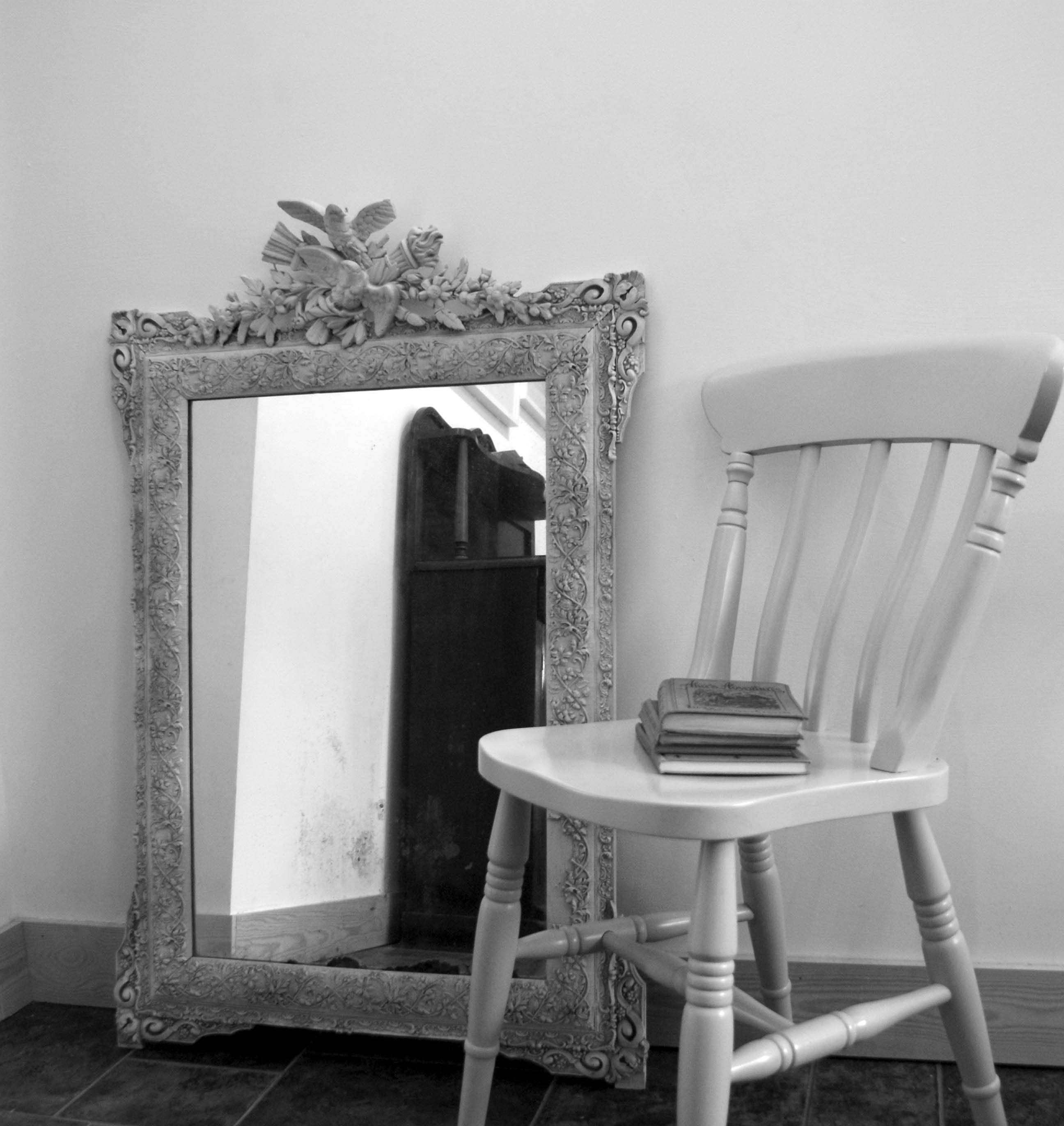 Antique French Mirror Distressed – Shabby Chic Grey Painted For Black Shabby Chic Mirrors (View 16 of 25)