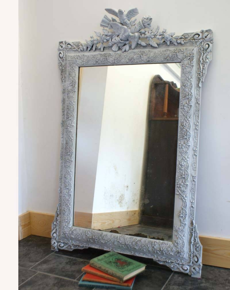 Antique French Mirror Distressed - Shabby Chic Grey Painted regarding French Shabby Chic Mirrors (Image 7 of 25)