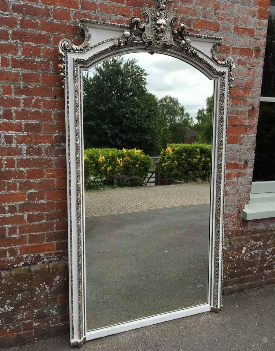 Antique French Mirrors, Antique Silver Framed Mirrors, Large Gilt regarding Vintage Overmantle Mirrors (Image 3 of 25)