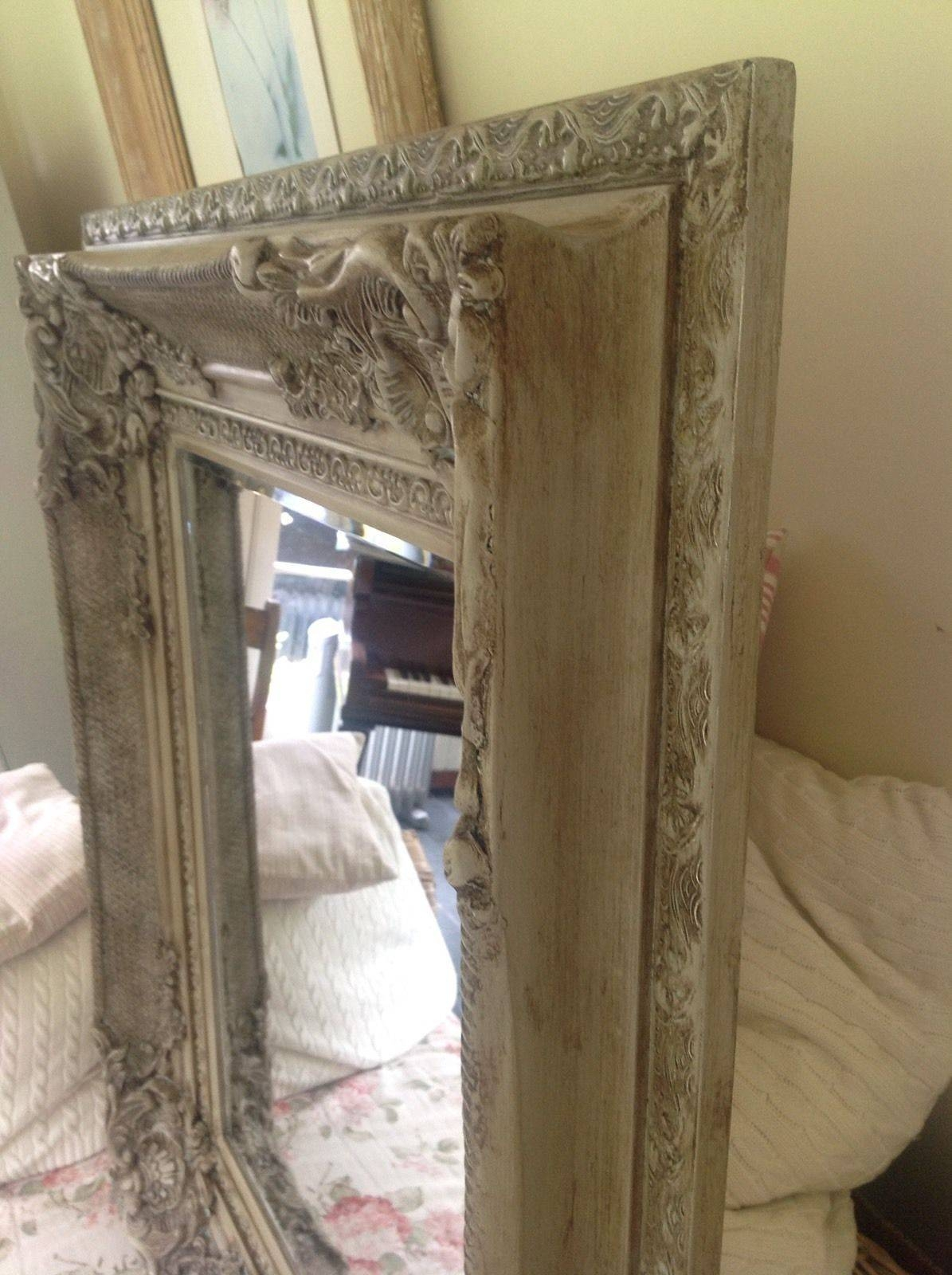 Antique French Style Bevelled Wall Mirror Carved Painted Grey intended for Large Antique Wall Mirrors (Image 3 of 25)
