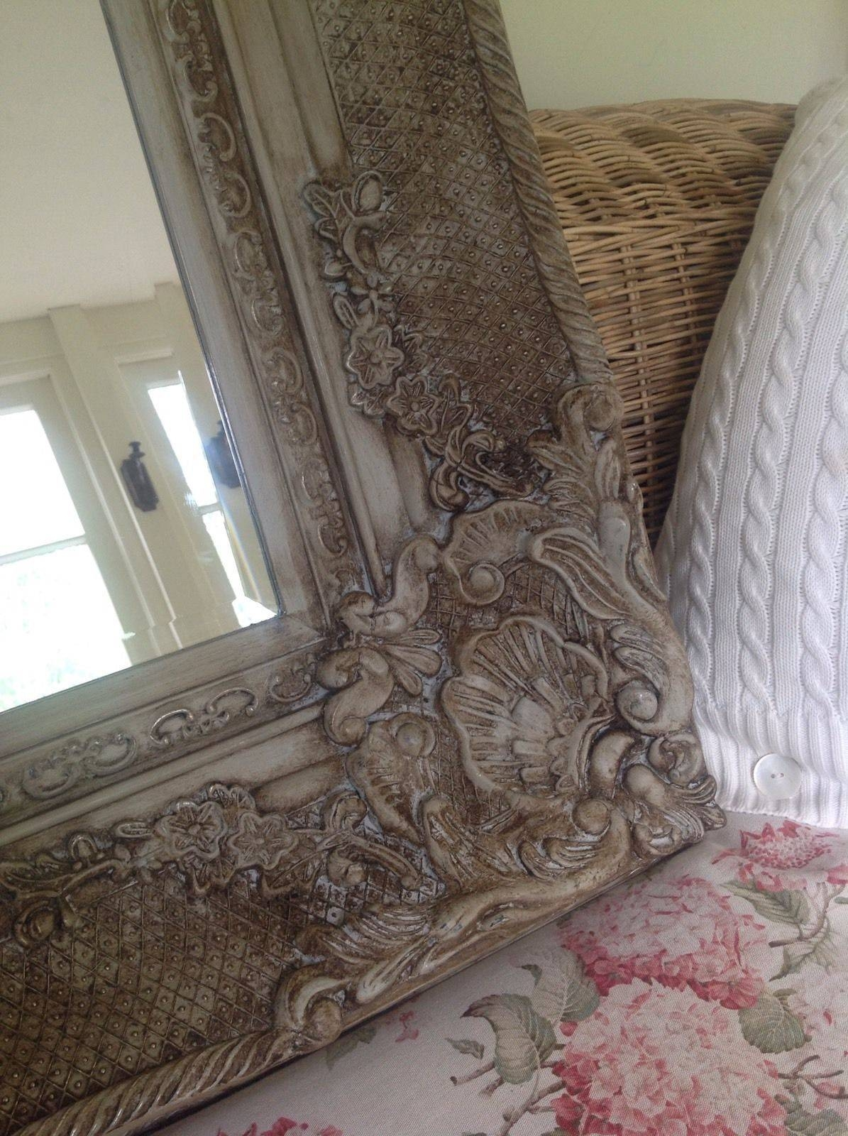 Antique French Style Bevelled Wall Mirror Carved Painted Grey within Large French Style Mirrors (Image 4 of 25)