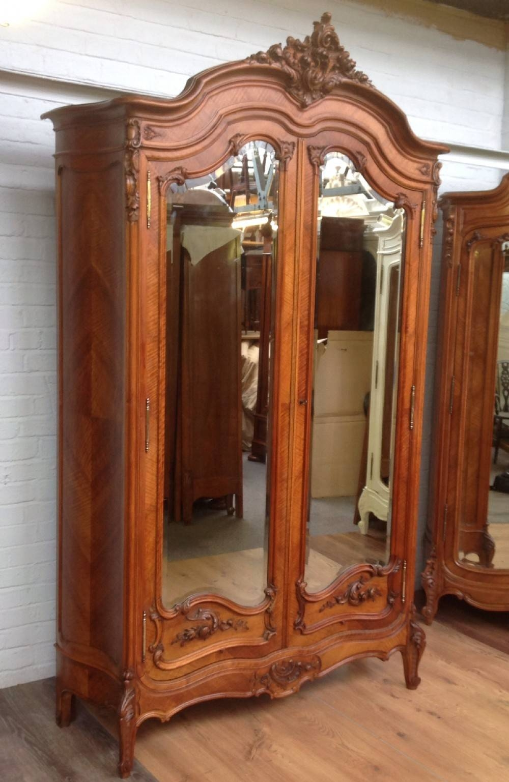 Antique French Walnut Armoire With Carved Doors. | 287475 intended for Vintage French Wardrobes (Image 3 of 15)