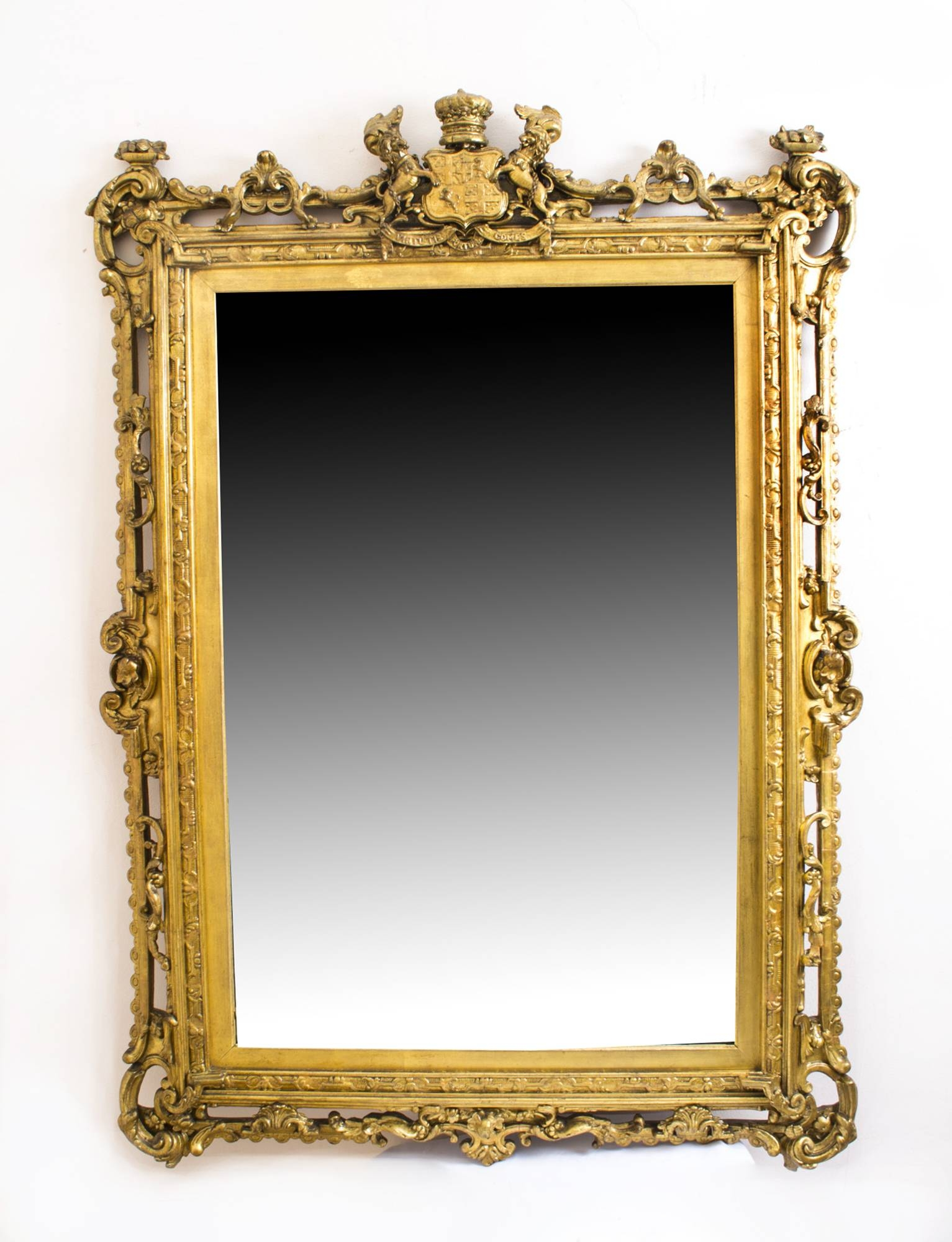 Antique Gilded Mirror With Prince Albert Crest C 1850 | Vinterior With Regard To Antique Gilded Mirrors (View 3 of 25)