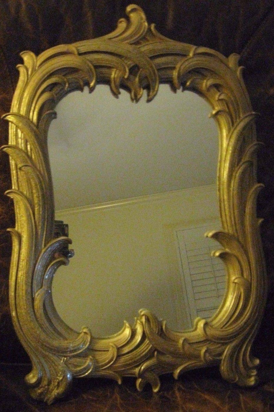 Antique Gilt Mirror With Palm Leaf Frame-On-Reflection Design regarding Antique Gilt Mirrors (Image 11 of 25)