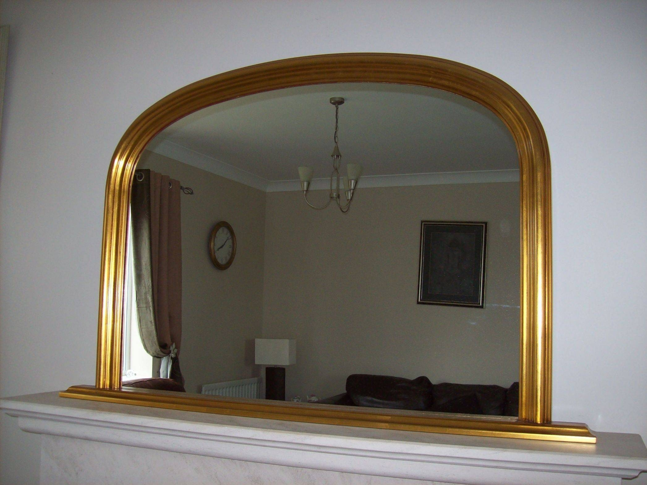 Antique Gold Arched Overmantle Mirror for Vintage Overmantle Mirrors (Image 4 of 25)