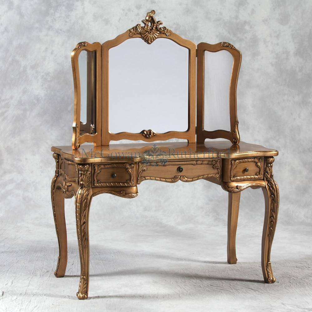 Antique Gold French Style Large Dressing Table And Mirror regarding Gold Table Mirrors (Image 5 of 25)