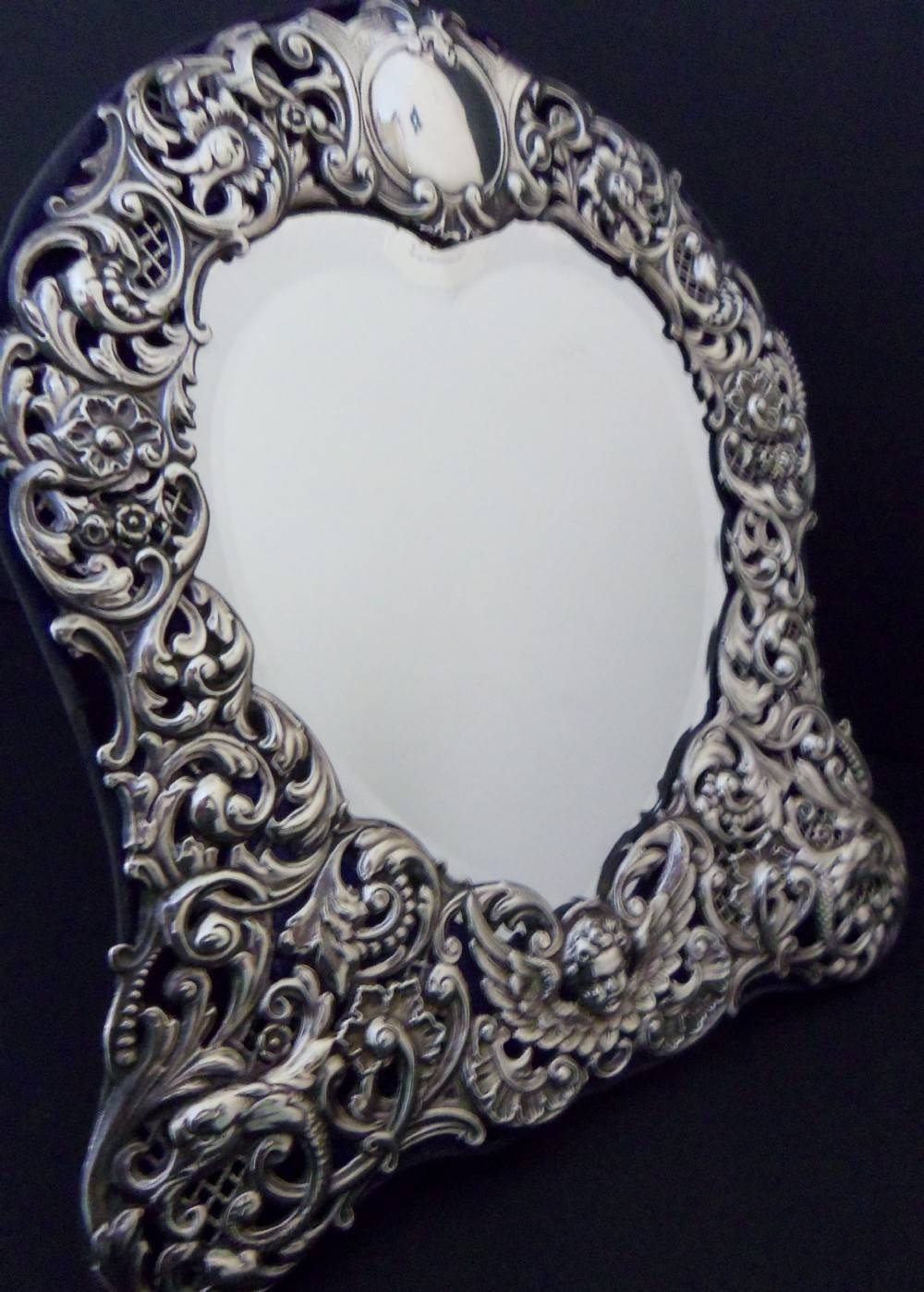 Antique Heart Shaped Silver Mirror - 1901 | 303439 with regard to Silver Antique Mirrors (Image 3 of 25)