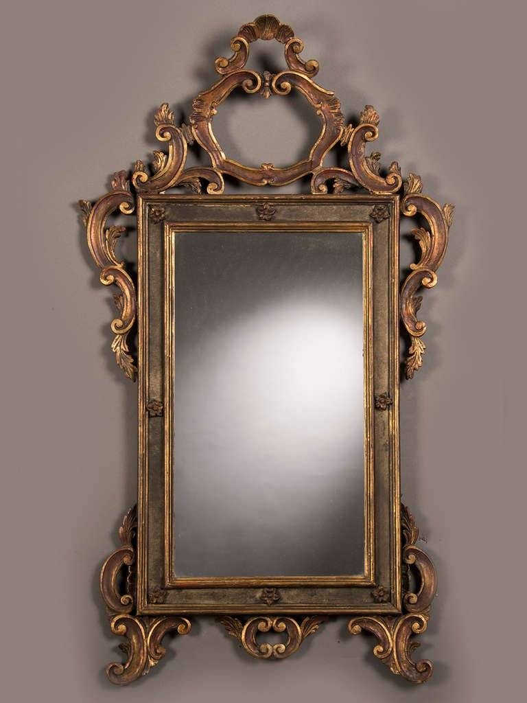 Antique Italian Baroque Style Gilded And Painted Mirror, Circa pertaining to Antique Gilded Mirrors (Image 18 of 25)