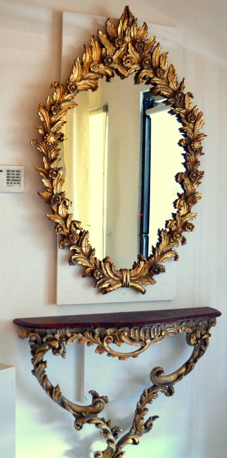 Antique Italian Gold Leaf Mirror And Console Table For Sale At 1Stdibs with Gold Table Mirrors (Image 6 of 25)