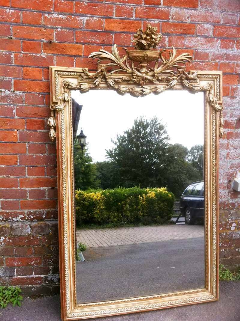 Antique Large French Cream And Gilt And Red Carved Wood Mirror inside Cream Antique Mirrors (Image 12 of 25)