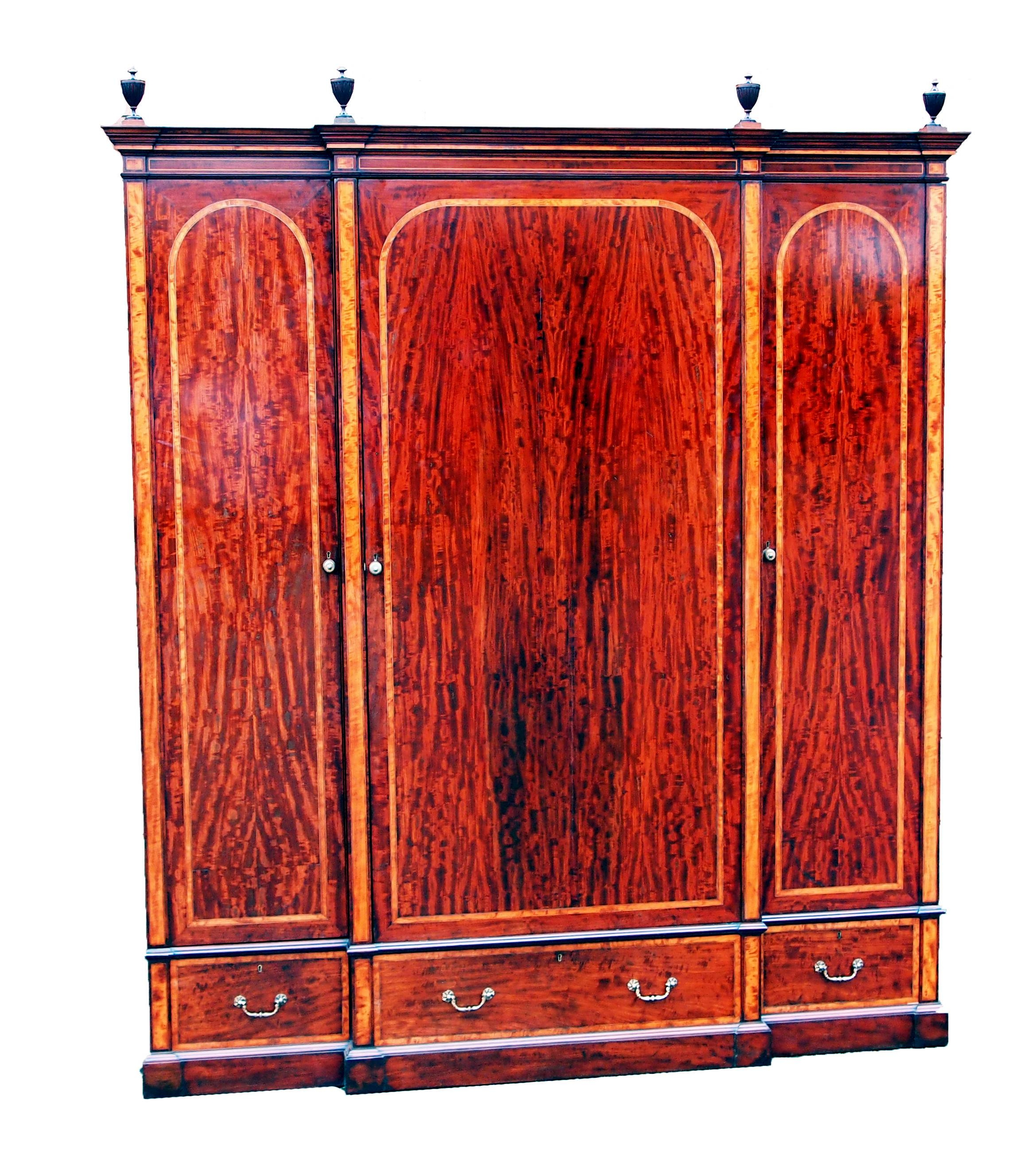 Antique Mahogany Breakfront Wardrobe (C. 1850 England) From S & S throughout Antique Breakfront Wardrobe (Image 4 of 30)