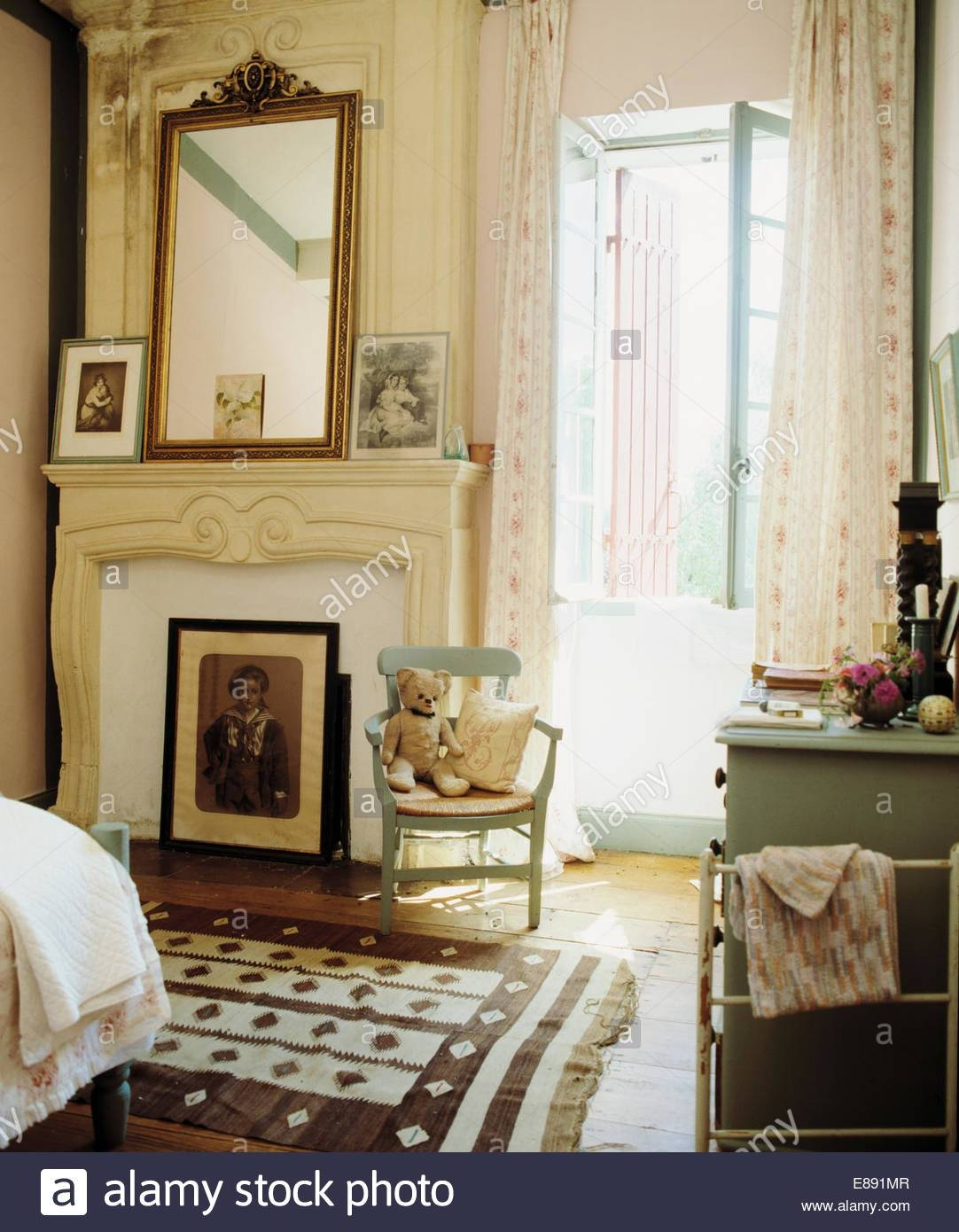 Antique Mirror Above Fireplace In Cream French Country Bedroom for Cream Antique Mirrors (Image 13 of 25)