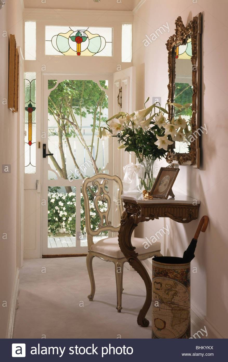 Antique Mirror And Console Table In Narrow Cream Hall With Beige intended for Cream Antique Mirrors (Image 15 of 25)