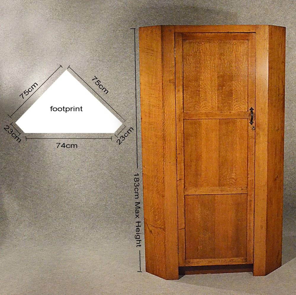 Antique Oak Corner Wardrobe Armoire 6' Cupboard - Antiques Atlas regarding 1 Door Corner Wardrobes (Image 1 of 15)