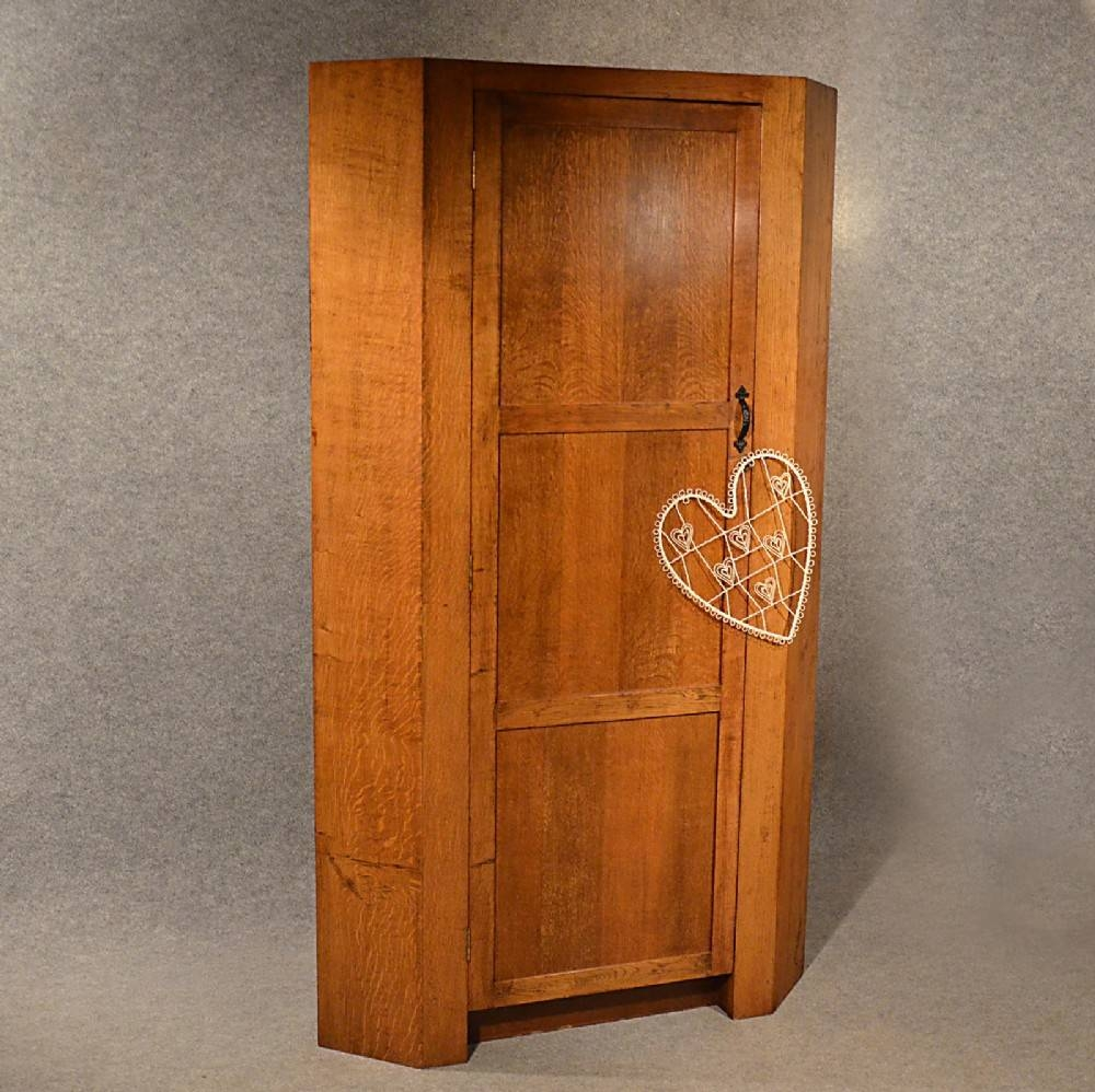 Antique Oak Corner Wardrobe Armoire 6' Cupboard Quality English for Oak Corner Wardrobes (Image 5 of 15)