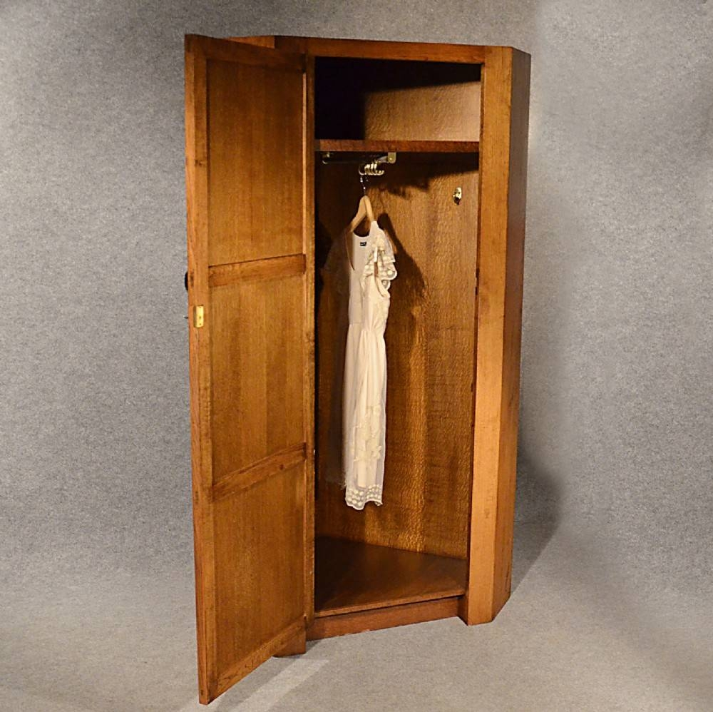 Antique Oak Corner Wardrobe Armoire 6' Cupboard Quality English within Oak Corner Wardrobes (Image 6 of 15)