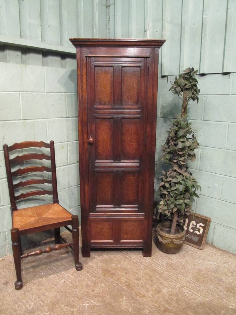 Antique Oak Narrow Single Wardrobe C1920 | 312204 throughout Antique Single Wardrobes (Image 3 of 15)