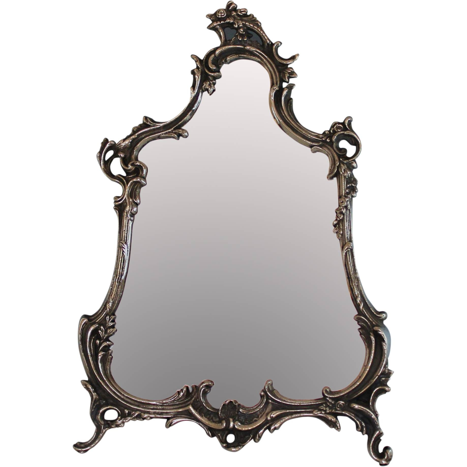 Antique Ornate Silver Plate Rococo Style Vanity Mirror From with Ornate Silver Mirrors (Image 4 of 25)