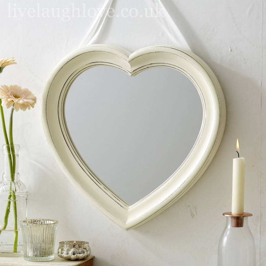 Antique Painted Hanging Heart Mirror | Live Laugh Love in Heart Wall Mirrors (Image 3 of 25)