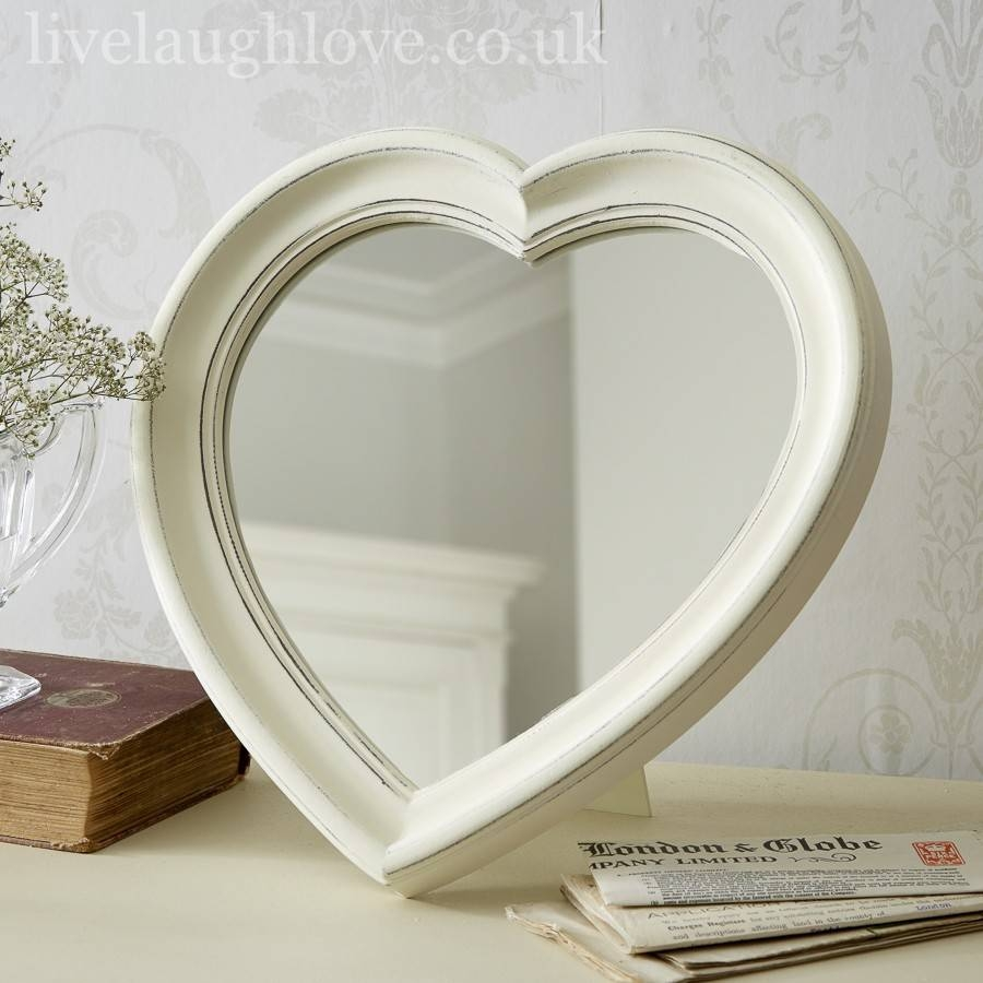 Antique Painted Hanging Heart Mirror | Live Laugh Love Within Heart Wall Mirrors (View 4 of 25)
