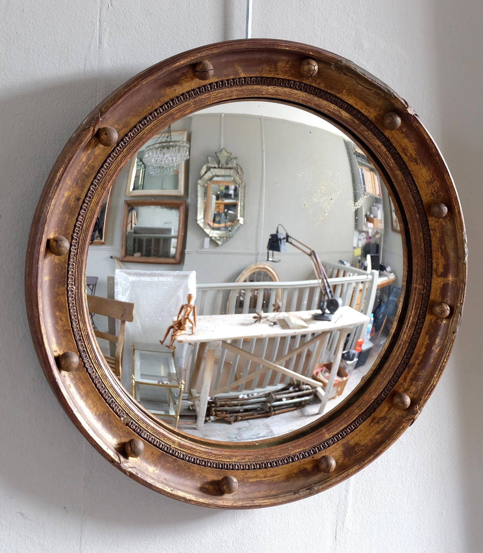 Antique Round Convex Mirror › Puckhaber Decorative Antiques pertaining to Round Convex Mirrors (Image 4 of 25)