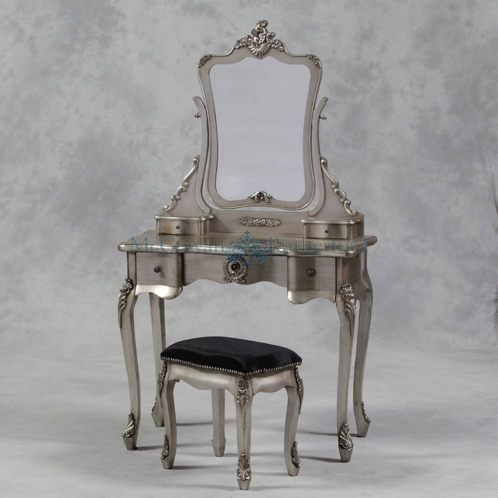 Antique Silver French Style Dressing Table Mirror And Stool Set pertaining to French Style Dressing Table Mirrors (Image 4 of 25)