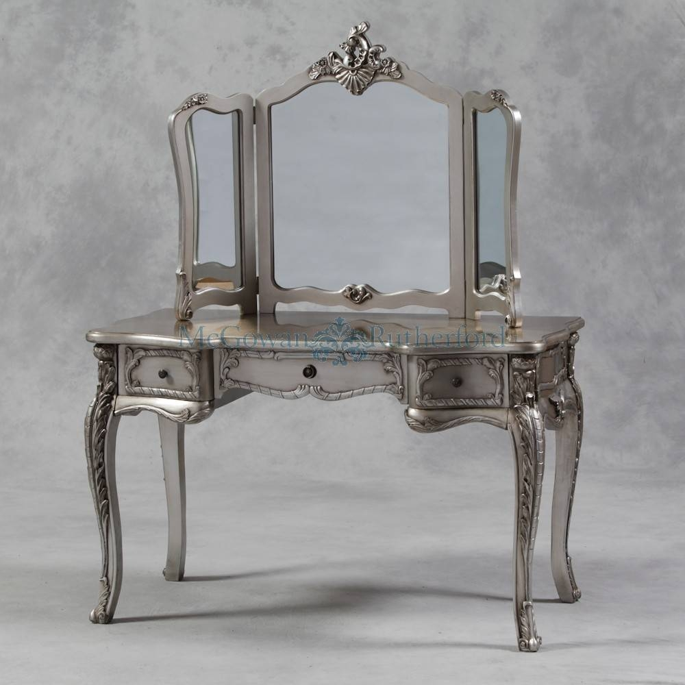 Antique Silver French Style Large Dressing Table And Mirror for French Style Dressing Table Mirrors (Image 5 of 25)