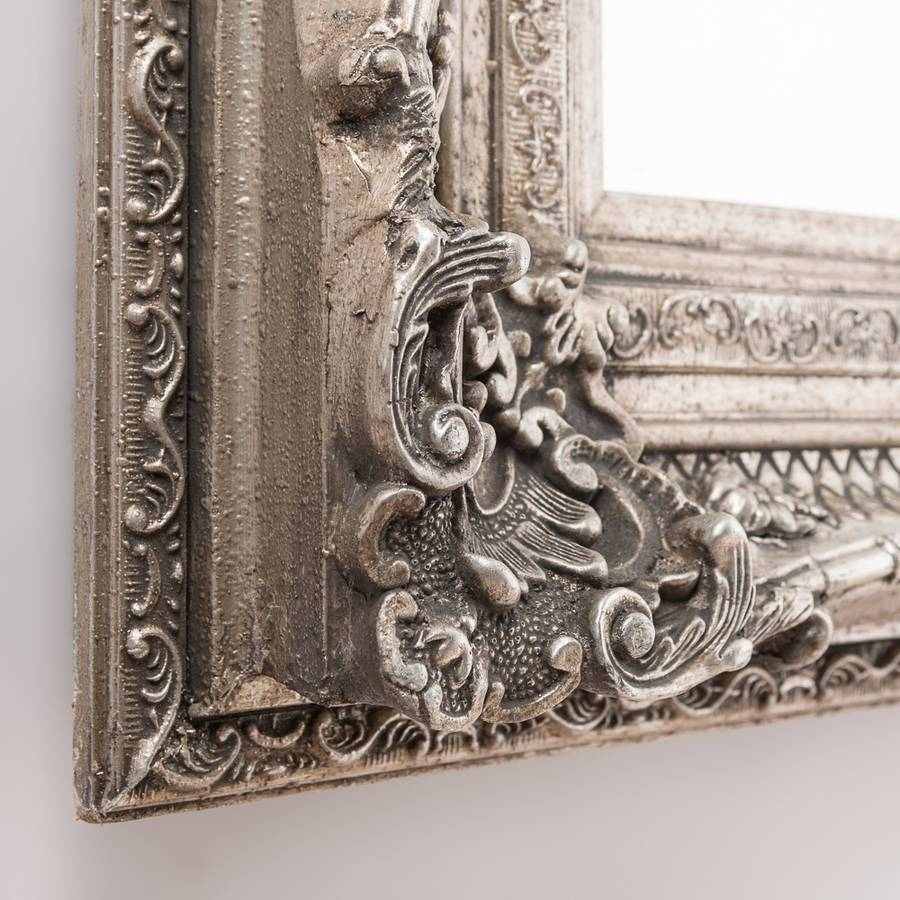 Antique Silver Ornate Rococo Mirrorhand Crafted Mirrors with Vintage Silver Mirrors (Image 7 of 25)