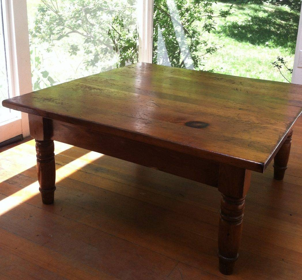 Antique Square Pine Coffee Table Home Decor / Thippo regarding Square Pine Coffee Tables (Image 2 of 30)