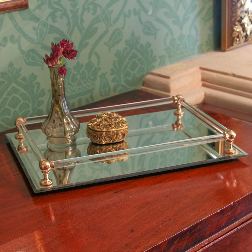 Antique Style Mirrored Gold Luxury Tray pertaining to Venetian Tray Mirrors (Image 7 of 25)