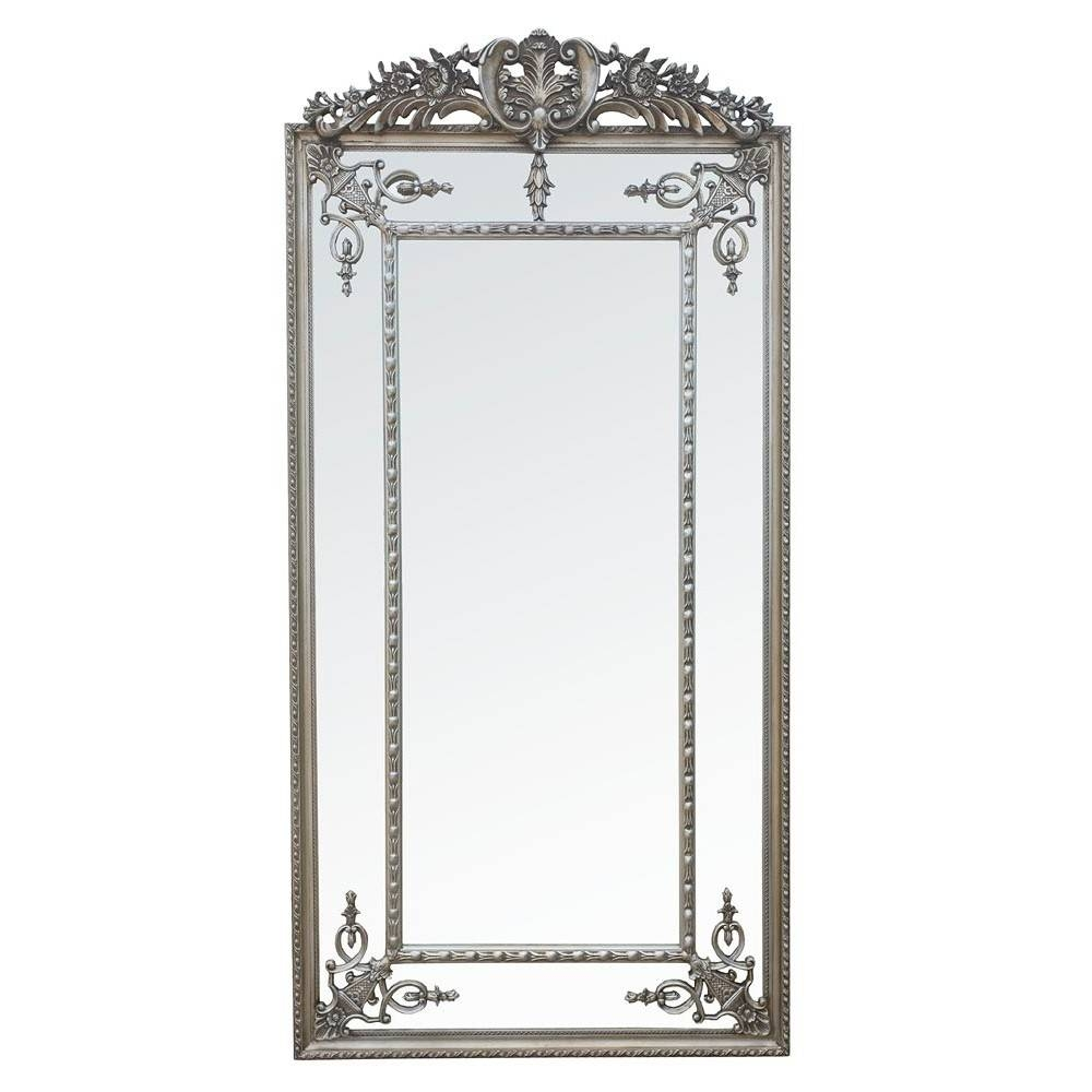 Antique Style Silver Margin Large Floor Standing Full Length Within Full Length Silver Mirrors (View 2 of 25)