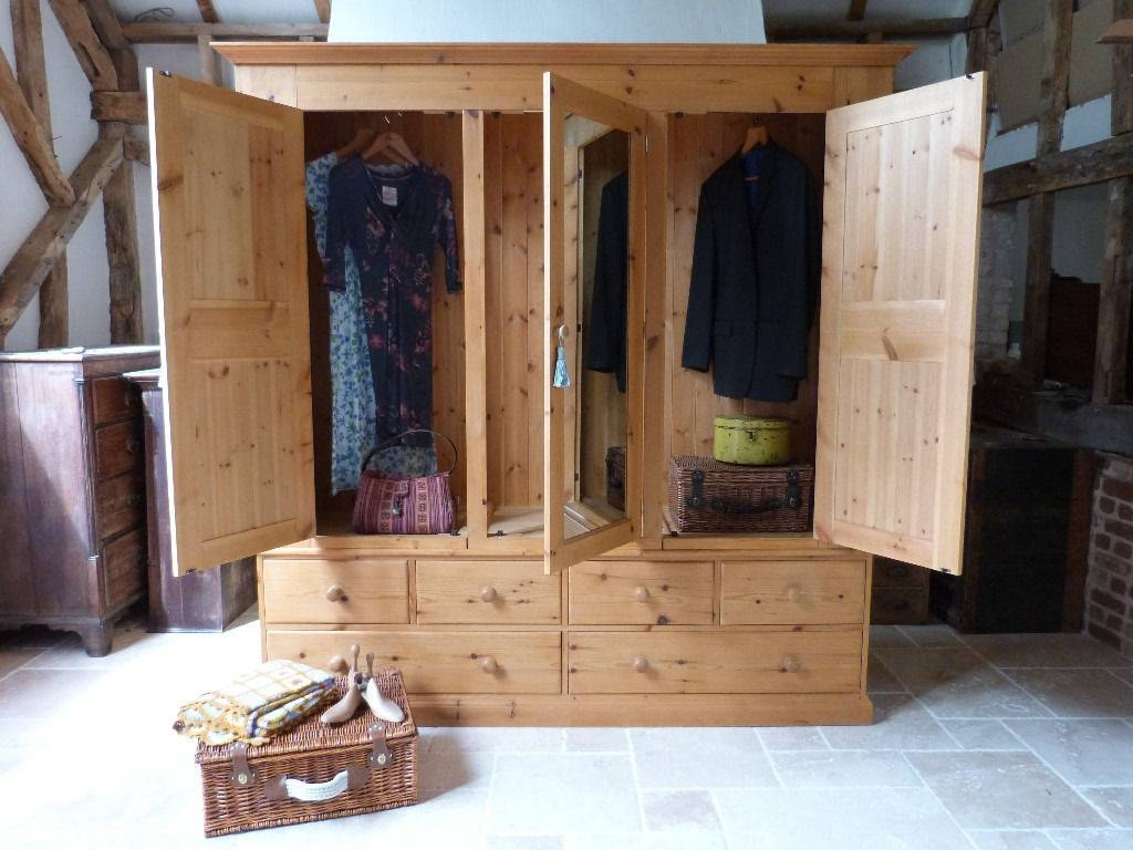 Antique Style Waxed Pine Triple 3 Door Wardrobe With Mirror And in 3 Door Pine Wardrobes (Image 1 of 15)