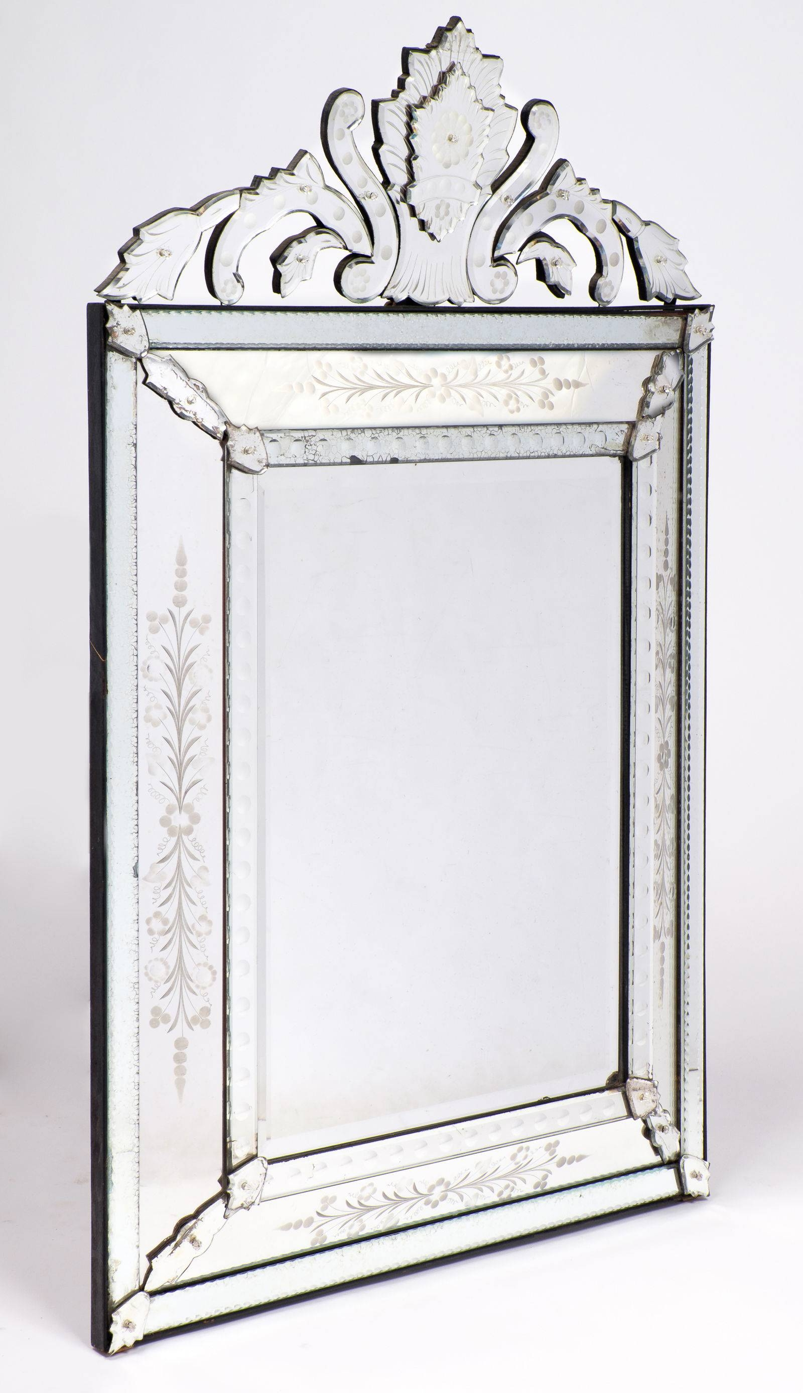 Antique Venetian Glass Mantel Mirror - Jean Marc Fray for Antique Venetian Glass Mirrors (Image 4 of 25)