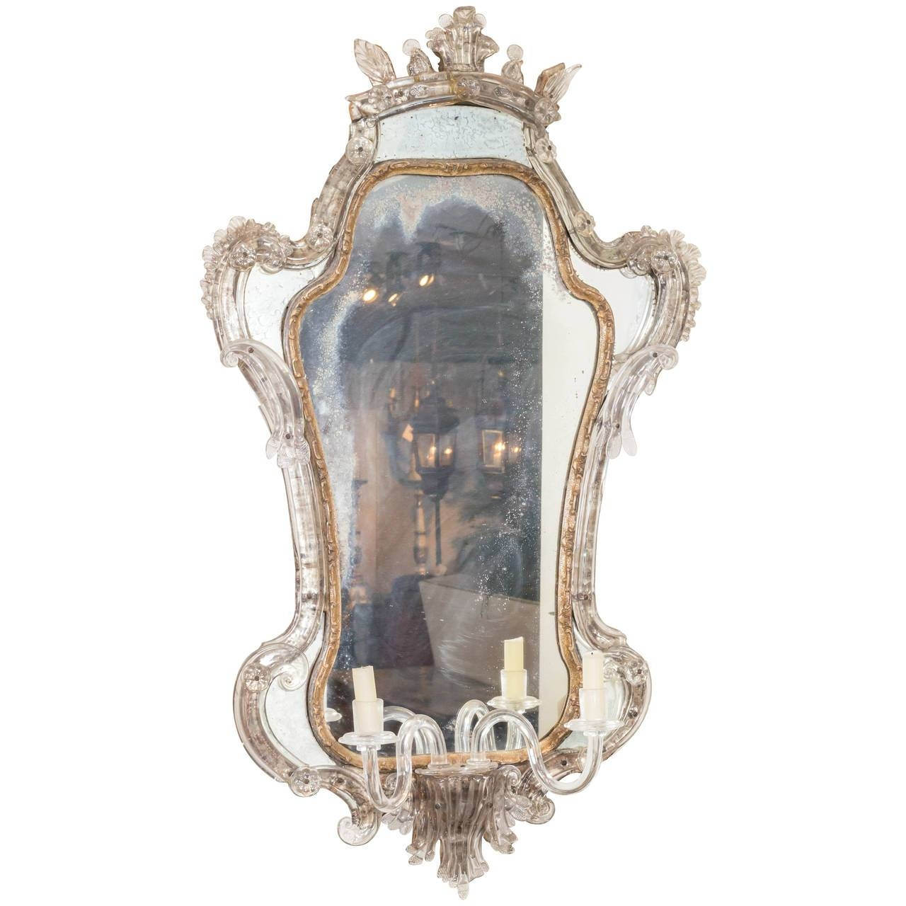 Antique Venetian Glass Mirror With Blown Glass Sconce, Italy Circa with Antique Venetian Glass Mirrors (Image 7 of 25)